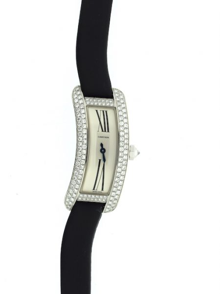 Cartier Curved Tank white gold with diamonds NOS