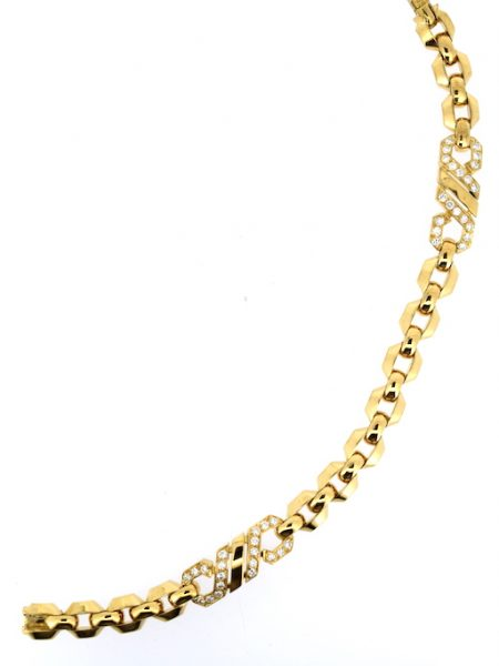 Cartier bracelet FoxTrot from the 80's yellow gold and diamonds</BR>19cm