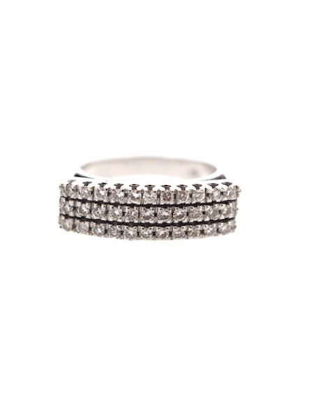 Bague rectangulaire en or blanc avec diamants </br> 54