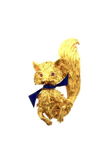 18k cat brooch with rubis
