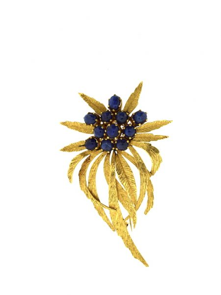 brooch leaves with sapphires
