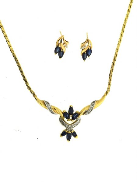 necklace set with sapphire & diamonds with matching earrings