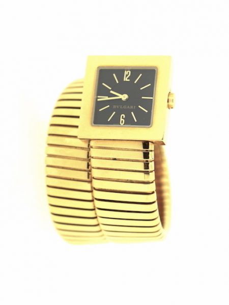 Bulgari Tubogas 2 round gold square watch</br>22x22mm
