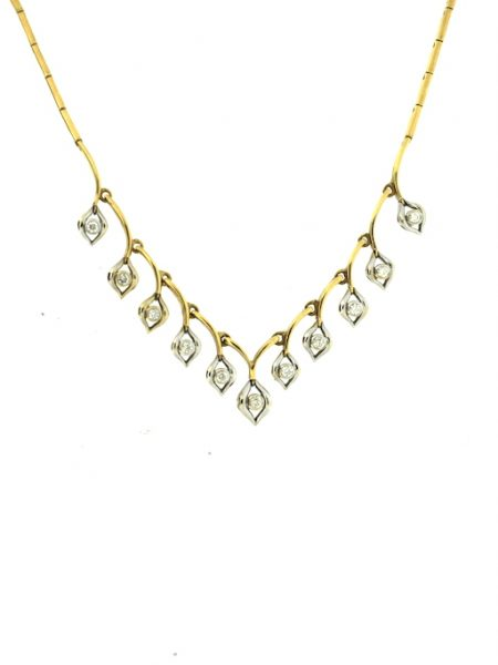 yellow & white gold vintage necklace
