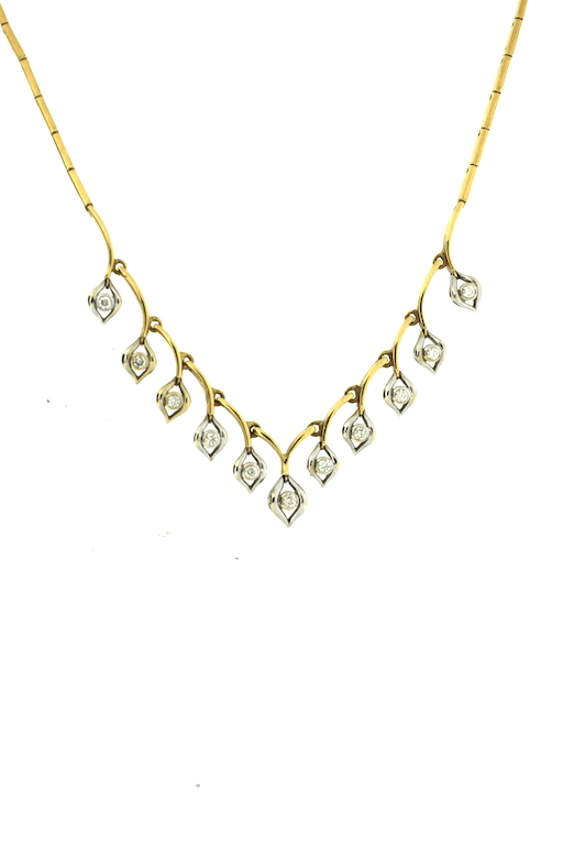 Yellow white gold vintage necklace