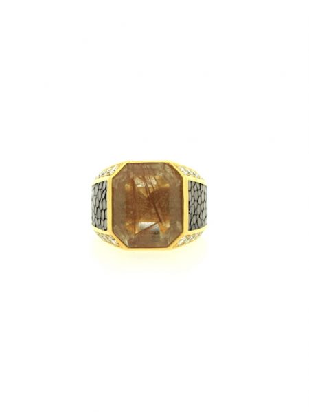 "Salvatore Ferragamo Bague de collection ""Galuchat""</br>53"