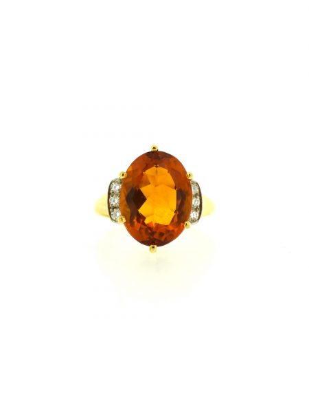 Citrine and diamonds yellow gold ring</br>55