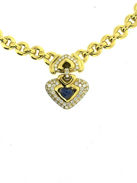 Chopard Sapphire Diamond Yellow Gold Heart Necklace