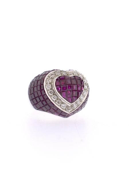 Heart shape Ring invisible rubis setting & diamonds</BR>53