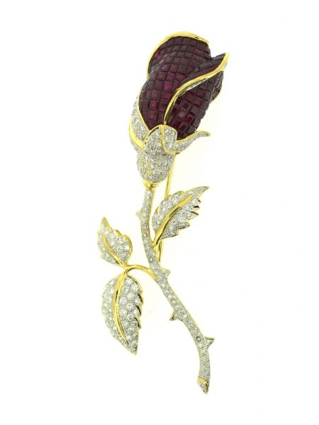Antique rose form brooch with diamonds & rubis