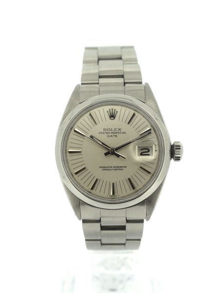 Rolex Oyster Perpetual Date very rare silver Rail dial</br>34mm
